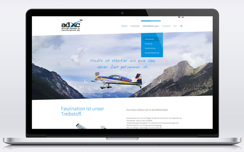 Aircraft Design & Certification - Webseiten Relaunch